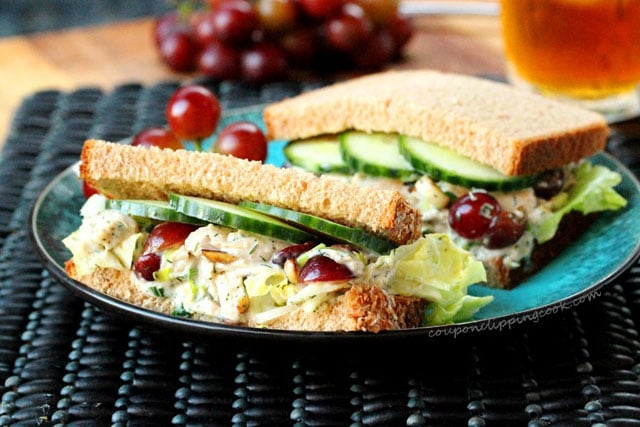 Chicken salad with grapes and cucumber sandwich