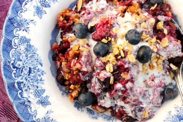 Berry Granola Streusel Crisp in bowl