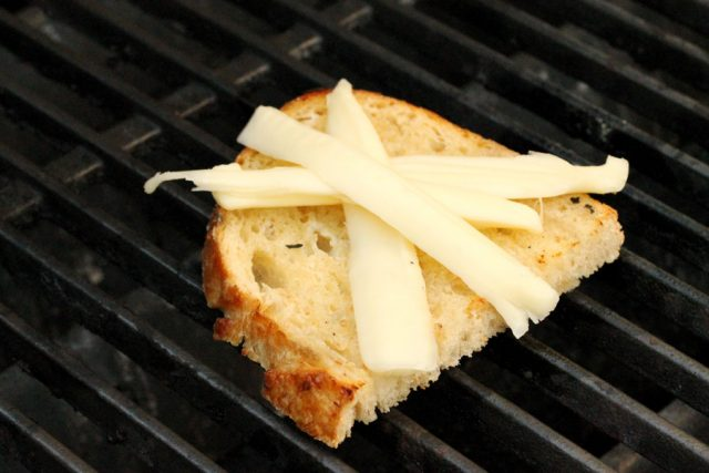 String Cheese on Bread on grill
