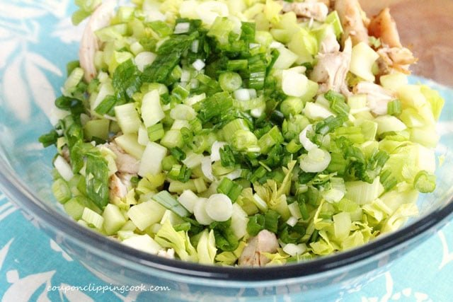 Cooked chicken celery and onion in bowl