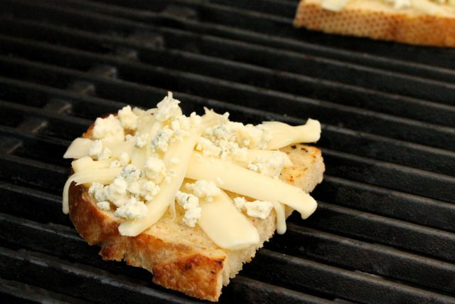 Blue Cheese on Bread on grill