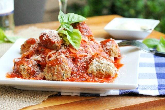 Pork Meatballs and Sauce on plate
