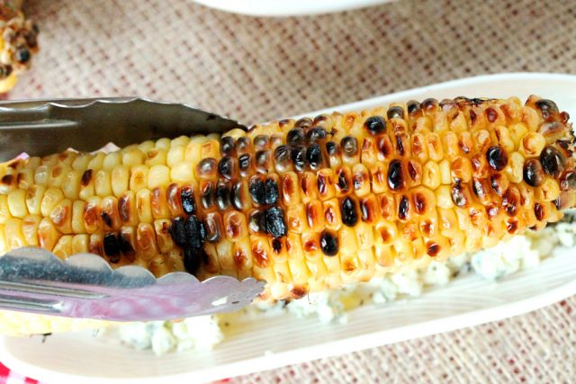 Grilled Corn on Blue Cheese in dish
