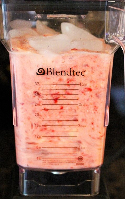 Peach Berry Smoothie in Blender