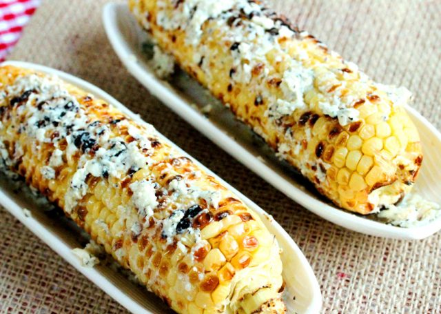 Blue Cheese on Grilled Corn in dish