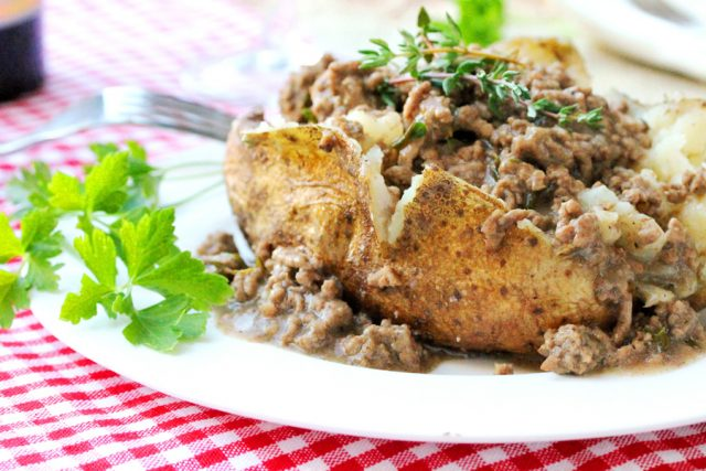 Baked Potato with Ground Beef on plate