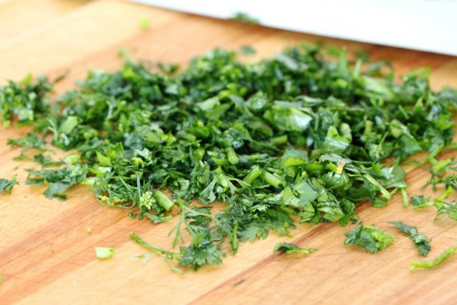 Chopped Cilantro on board
