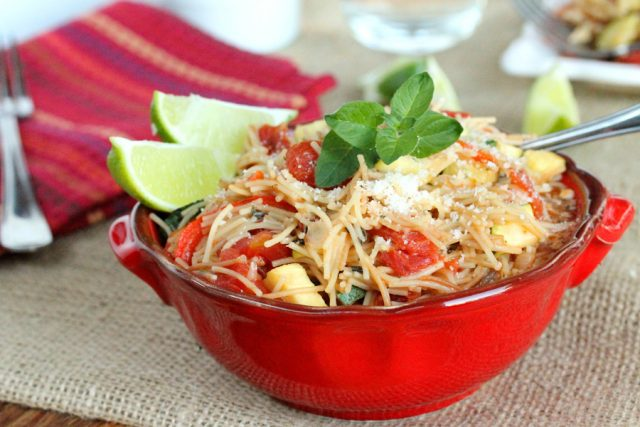 Fideo Pasta with Vegetables in bowl