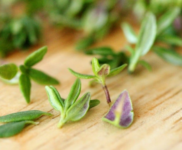 Thyme Leaves on Cutting Board