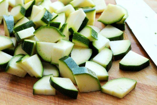 Cut Pieces of Zucchini on board