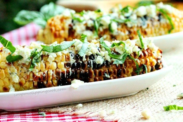 Grilled Corn with Gorgonzola Cheese in dish