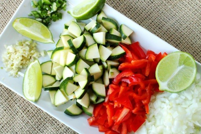 Chopped Vegetables on Plate