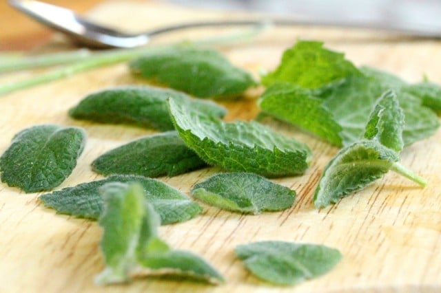Mint Leaves on Board