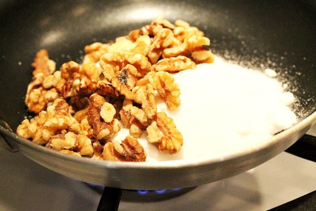 Walnuts and Sugar in Pan