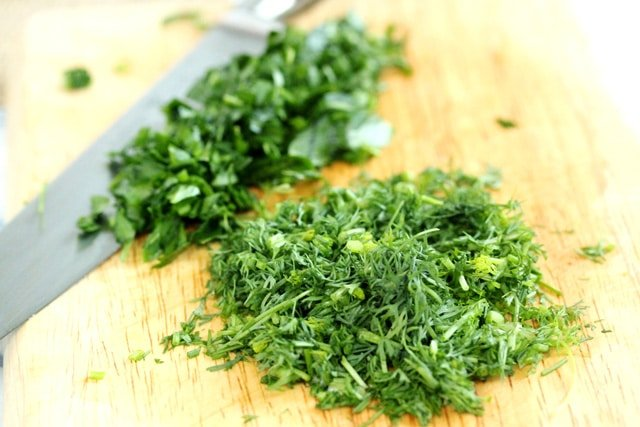 Chopped Dill and Parsley on board