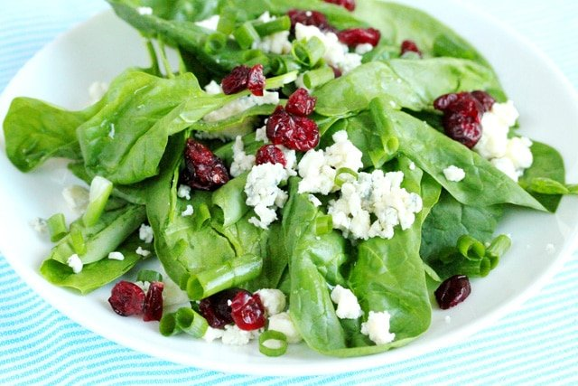 Spinach Cheese Cranberry Salad