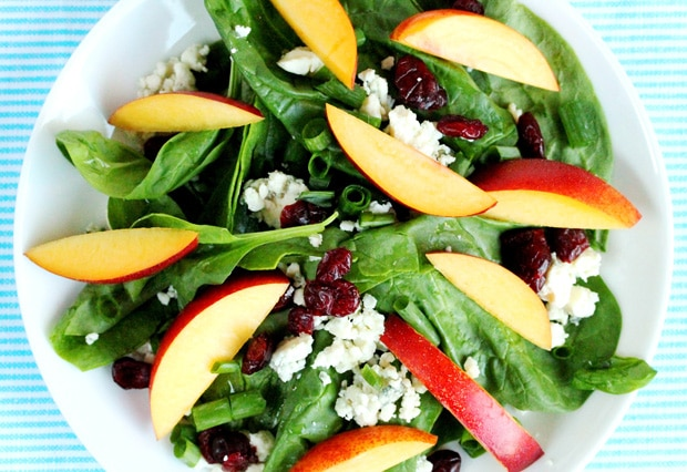 Spinach and Nectarine Salad on plate