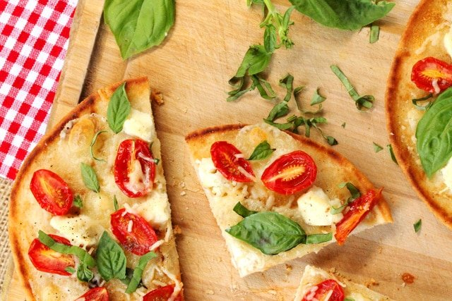 3-Cheese Tomato and Basil Naan Pizza