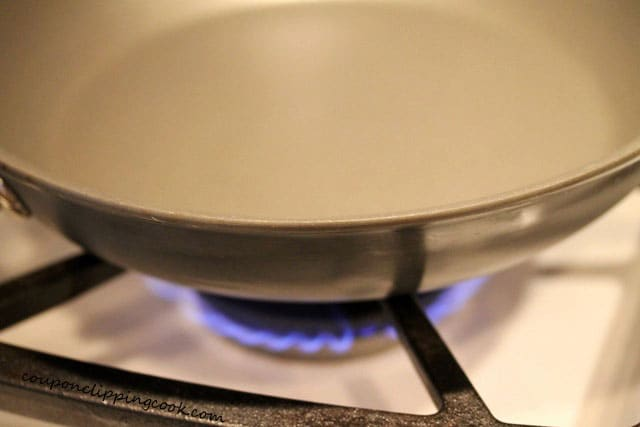 Skillet on burner on stove top