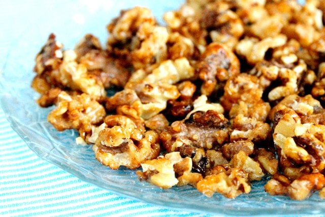 Candied Walnuts on Plate