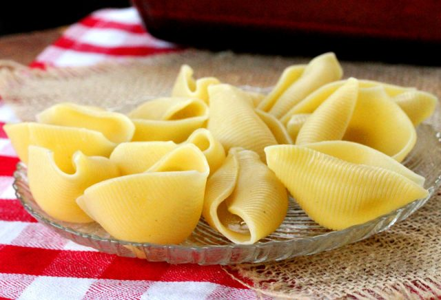 Cooked Pasta Shells on Plate