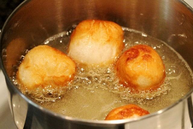 Fry Doughnut Balls in Oil