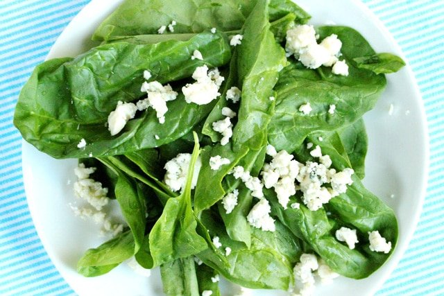 Spinach and Cheese on Plate