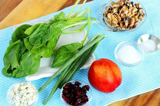 Spinach and Nectarine Salad Ingredients