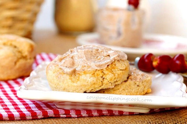 Apple Butter on Biscuit on plate