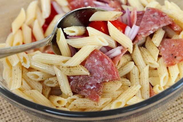 Salami Pasta Salad in Bowl