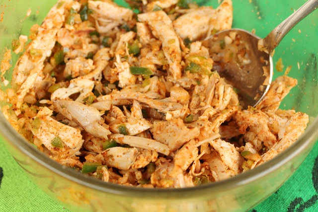 Chicken Taquito Filling in Bowl