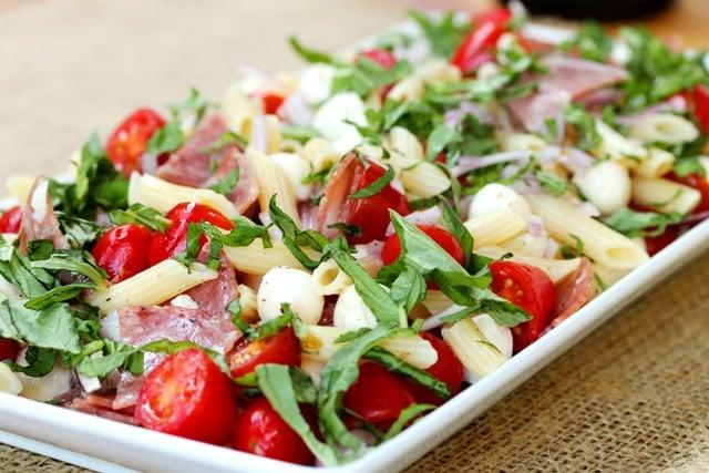 Salami Caprese Pasta Salad