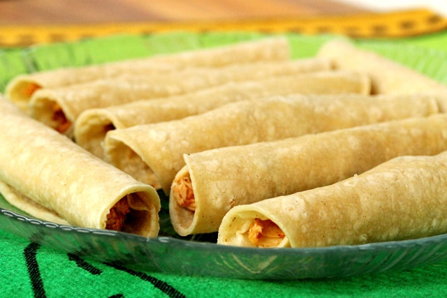 Rolled Taquitos on Plate