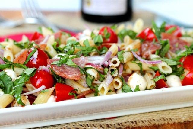 Salami Caprese Pasta Salad in Dish