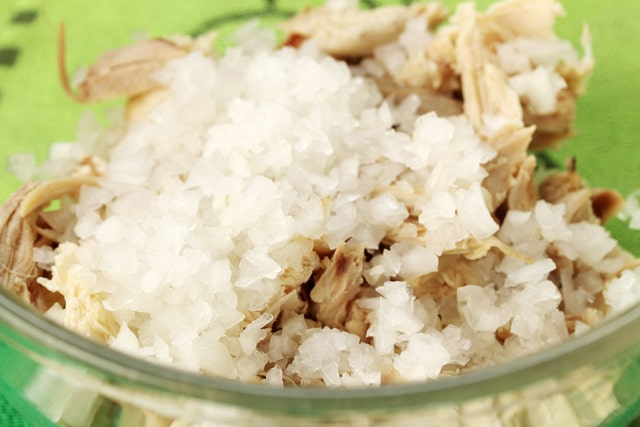 Diced Onion in Chicken Bowl
