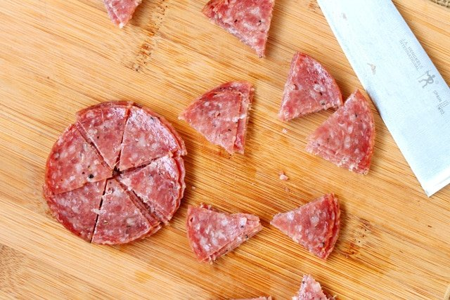 Cut Salami on Cutting Board