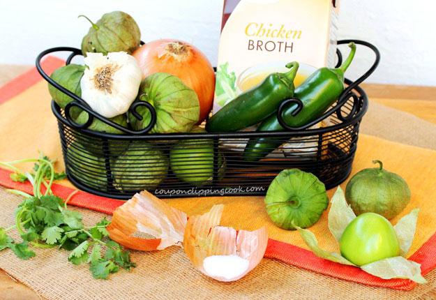 Green Salsa ingredients in Basket