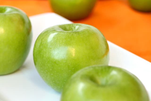Granny Smith Apples on Plate