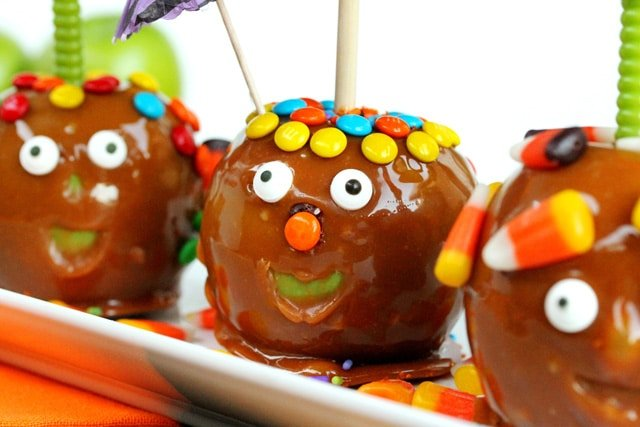 Funny Face Decorated Caramel Apples on plate