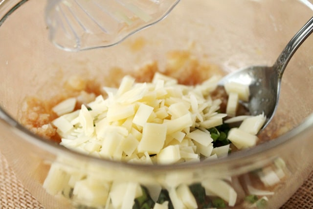 Swiss Cheese Potato mixture in bowl