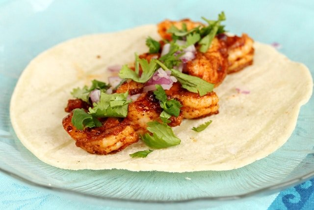 Shrimp and Cilantro on Tortilla