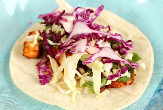 Cabbage and Shrimp on Tortilla