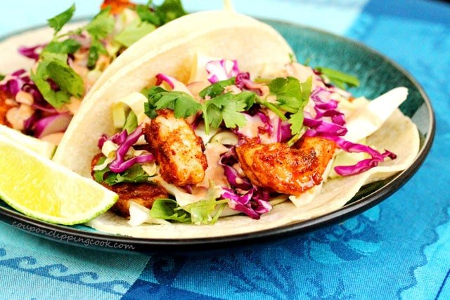 Shrimp Soft Tacos with Adobo Sauce