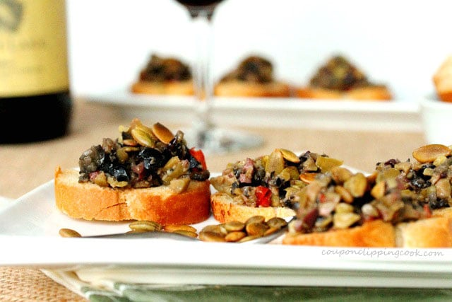 Olive Tapenade Crouton Toast on plate