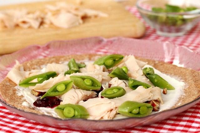 Sugar Snap Peas on Sliced Turkey