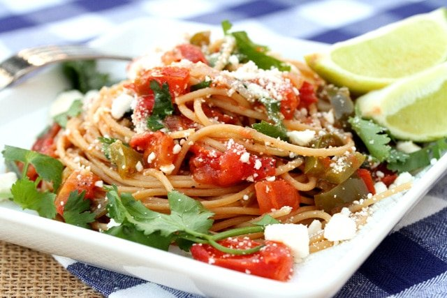 Tomato, Roasted Garlic and Pasta on Plate