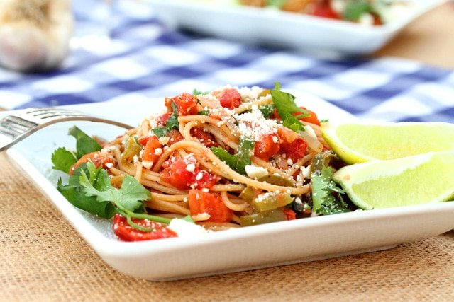 Pasta with Tomatoes, Lime and Feta Cheese