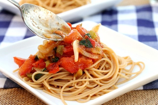Tomato and Vegetables and Pasta on plate