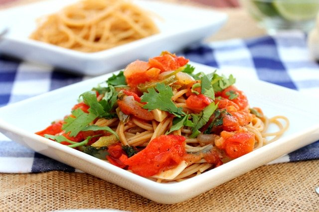 Tomato, Vegetables and Pasta on plate