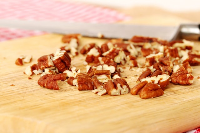 Chopped Pecans on Board
